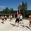 Beach-Volleyballfeld-Gruppenplatz